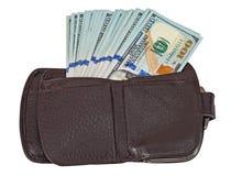 Portefeuille ouvert avec un billet d'un dollar collant  Image stock