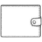 Portefeuille simple de cuir de croquis de vecteur Photos libres de droits