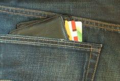 Portefeuille in zak van jeans Royalty-vrije Stock Afbeelding