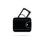 Portefeuille zwart-wit vectorsilhouet Stock Afbeelding