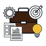 Portefeuilleaktentas met start geïsoleerde pictogrammen Stock Afbeeldingen