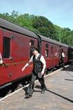 Porteiro railway retro, Highley Foto de Stock Royalty Free