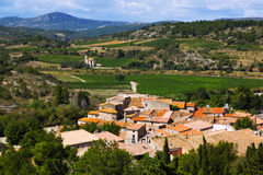 Portel-des-Corbieres  from mount.  France Stock Image