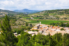Portel-des-Corbieres  from mount. Languedoc, France Royalty Free Stock Photos