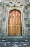 Portelli di legno in castello antico fotografia stock libera da diritti