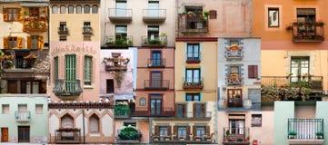 Portelli e balconi di Windows Immagini Stock Libere da Diritti