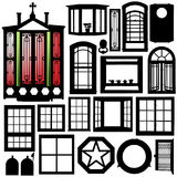 Portelli, insieme della siluetta delle finestre Fotografie Stock Libere da Diritti