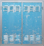 Portello blu del metallo Fotografia Stock