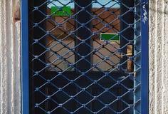Portello blu Locked fotografie stock