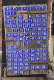 Portello con i numeri di casa Fotografie Stock
