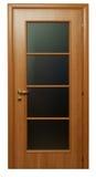 Portello di legno del Brown con vetro Immagini Stock Libere da Diritti