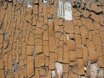 Portello di legno di Broun con vecchia vernice Fotografia Stock Libera da Diritti