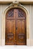 Portello di legno di una chiesa Fotografia Stock