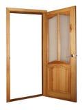 Portello di legno e di vetro isolato su bianco Immagine Stock