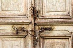 Portello di legno Locked Fotografia Stock Libera da Diritti