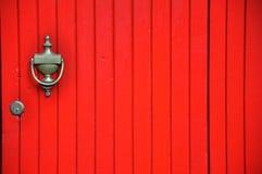Portello di legno rosso Fotografia Stock