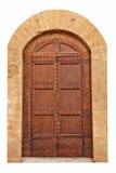 Portello marrone chiuso di legno. Fotografie Stock