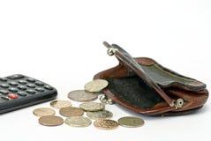 Portemonnee en calculator Royalty-vrije Stock Afbeelding