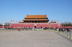 Porten av himla- fred på den berömda Tiananmen fyrkanten i Peking arkivfoto