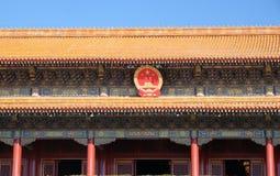 Porten av himla- fred på den berömda Tiananmen fyrkanten i Peking fotografering för bildbyråer