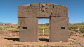 Porten av The Sun på Tiwanaku, La Paz, Bolivia arkivfilmer