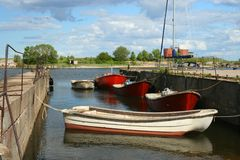 PortEngure Ostsee Kurzeme Lettland Stockbild
