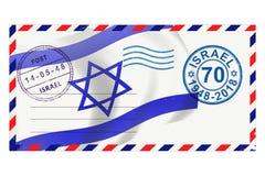 Portenvelop met zegels aan verjaardag 70 van viering Israël stock illustratie