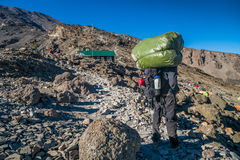 Porter in base camp, Mount Kilimanjaro, Tanzania Royalty Free Stock Photos
