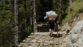 Porter is carrying a cargo in the Himalayas. The porter bears a heavy load, climbing the stone steps. Track to the base camp of Everest in the Himalayas stock footage