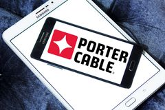 Porter-Cable company logo. Logo of Porter-Cable company on samsung mobile. Porter-Cable is an American company that manufactures power tools. Known for Royalty Free Stock Photo