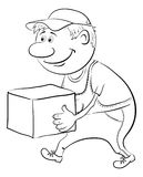 Porter carries a box, outline Stock Images