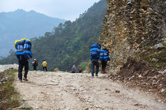 The porter is carrying stuff to trek to Poonhill, Nepal Stock Image