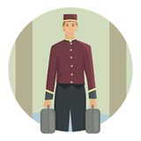 Porter carrying a suitcase, flat design Royalty Free Stock Photo