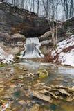 Porter Cave Falls in de Winter Stock Foto