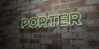 PORTER - Glowing Neon Sign on stonework wall - 3D rendered royalty free stock illustration Stock Photo
