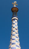 Porter lodge colorful tower in Park Guell. Stock Photo