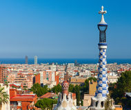 Porter lodge colorful tower in Park Guell. Royalty Free Stock Photography