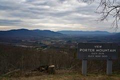 Porter Mountain Overllok Blåa Ridge Parkway, VA, USA Arkivbild