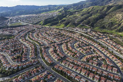 Porter Ranch Aerial View in Los Angeles California. Aerial view of Porter Ranch neighborhoods in the northwest San Fernando Valley area of Los Angeles stock photography