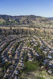 Porter Ranch California Aerial View. Aerial view of streets and homes in the suburban Porter Ranch neighborhood of Los Angeles California royalty free stock images