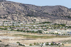 Porter Ranch California New Homes. Rows of new homes below Oat Mountain in the Los Angeles neighborhood of Porter Ranch royalty free stock photo