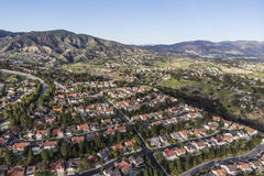 Porter Ranch Streets Aerial in Los Angeles. Suburban houses and streets in the Porter Ranch community of Los Angeles, California stock photo