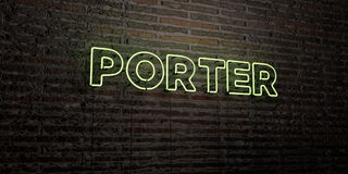 PORTER -Realistic Neon Sign on Brick Wall background - 3D rendered royalty free stock image Royalty Free Stock Image