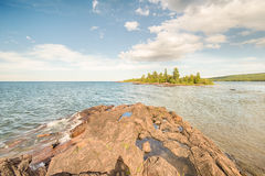 Porter's Island, Lake Superior, Hunters Point Park, Copper Harbor, MI Royalty Free Stock Photo