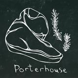 Porterhouse Steak Cut and Rosemary Vector Isolated On Chalkboard Background Outline. Porterhouse Steak Cut Vector Isolated On Chalkboard Background Royalty Free Stock Image