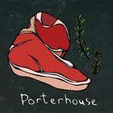 Porterhouse-Steak-Schnitt und Rosemary Vector Isolated On Chalkboard-Hintergrund Lizenzfreies Stockbild