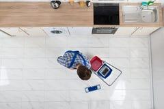 Portero Cleaning Floor Imagen de archivo libre de regalías