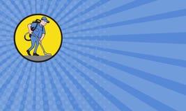 Portero comercial Vacuum Circle Cartoon del limpiador de la tarjeta de visita Foto de archivo