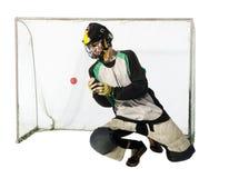 Portero de Floorball en el blanco Fotos de archivo libres de regalías