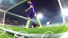 Portero del fútbol almacen de metraje de vídeo